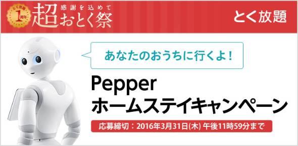 ソフトバンクが「Pepperホームステイキャンペーン」を開始