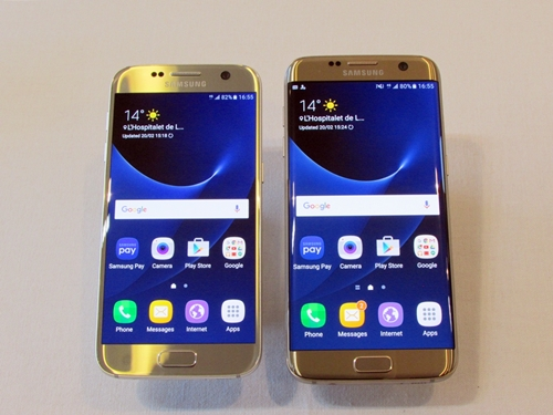 左がGalaxy S7、右がGalaxy S7 edge。背面も左右の角がカーブし非常に持ちやすい