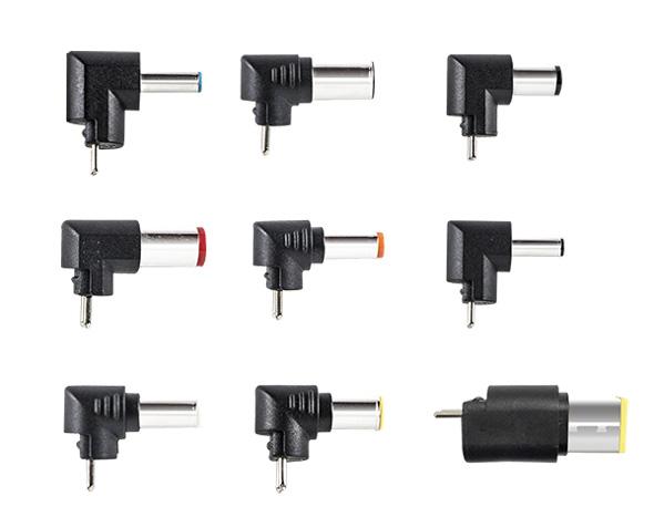 各メーカーのノートPCに対応するため、9種類の変換コネクターが付属する