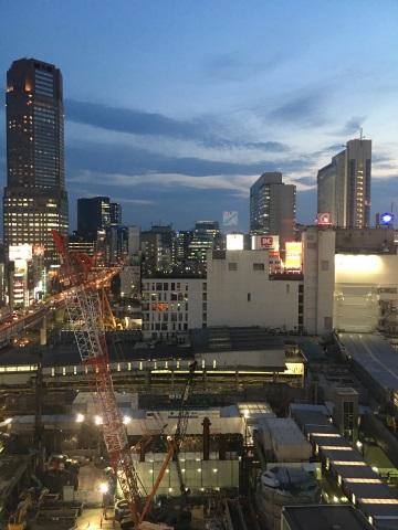 絶賛大工事中の渋谷駅の夜