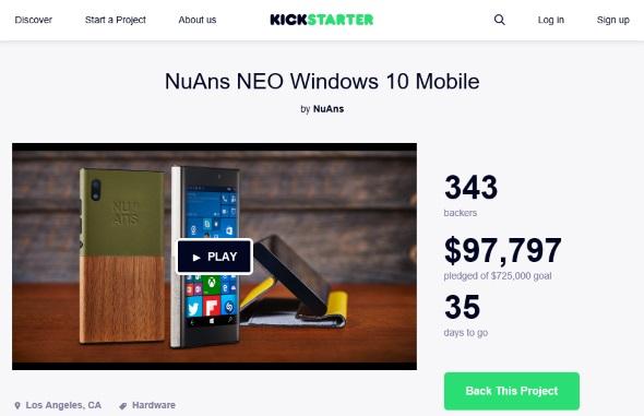 Kickstarter上のプロジェクトページ