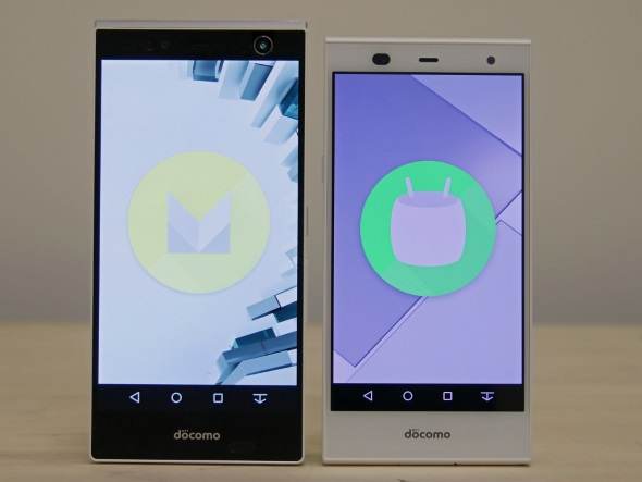 Android 6.0.1にバージョンアップしたARROWS NX F-04G(左)とarrows Fit F-01H(右)