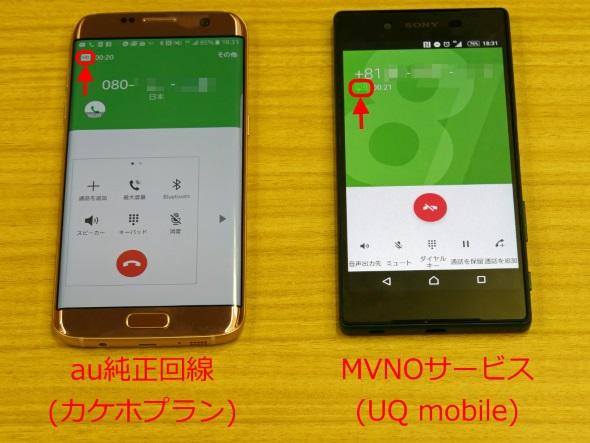 au純正回線とau所属のMVNO回線との間で高音質通話