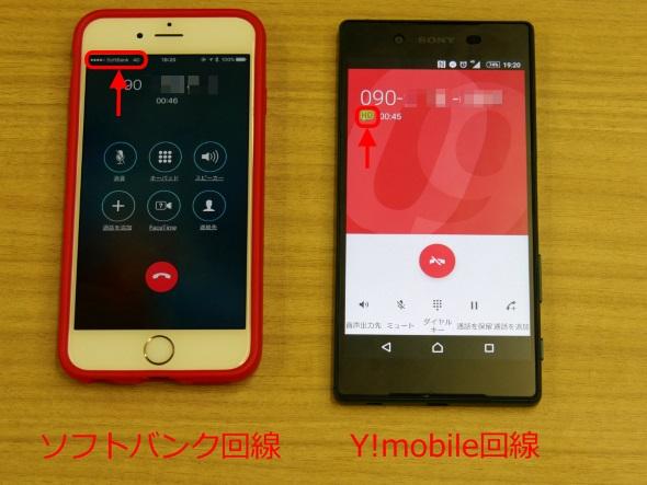 ソフトバンクのVoLTE対応端末とのHD Voice(3G)通話