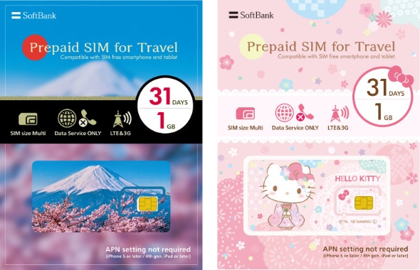 ソフトバンク、訪日旅行客向けプリペイドSIMを発売 「富士山」と「キティ」の2デザインを用意:ITmediaより引用