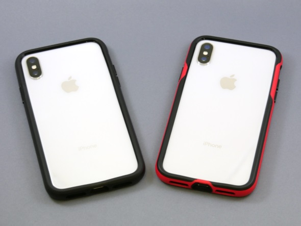 「LEVEL SILHOUETTE Case」を装着したiPhone X(背面)