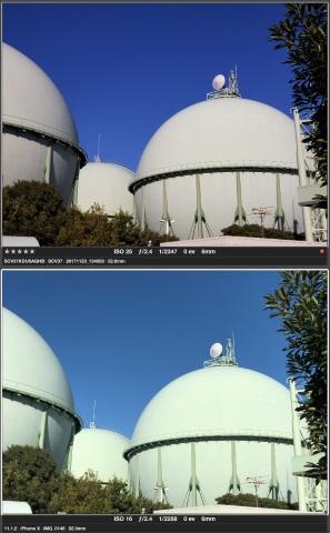 望遠カメラ画角比較