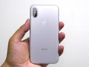 クリアマットを着けたiPhone X(背面)