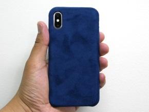 ブルーを着けたiPhone X(背面)