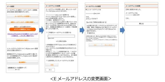 アドレス変更画面