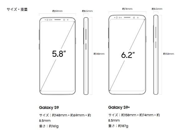 Galaxy S9シリーズの寸法