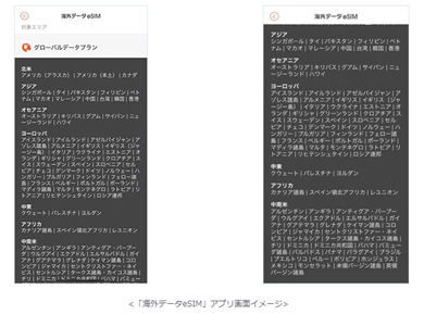 「海外データeSIM」アプリ画面イメージ