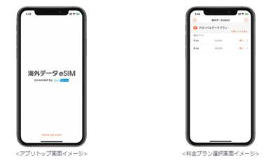「海外データeSIM」トップ画面、料金プラン選択画面イメージ