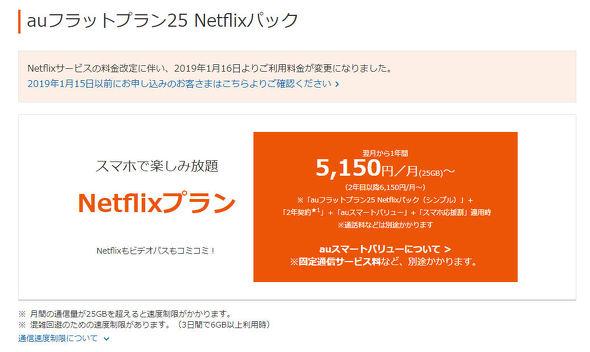 auフラットプラン25 Netflixパック