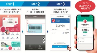スマートフォン向け決済サービス「PayPay」の「PayPay請求書払い」利用の流れ
