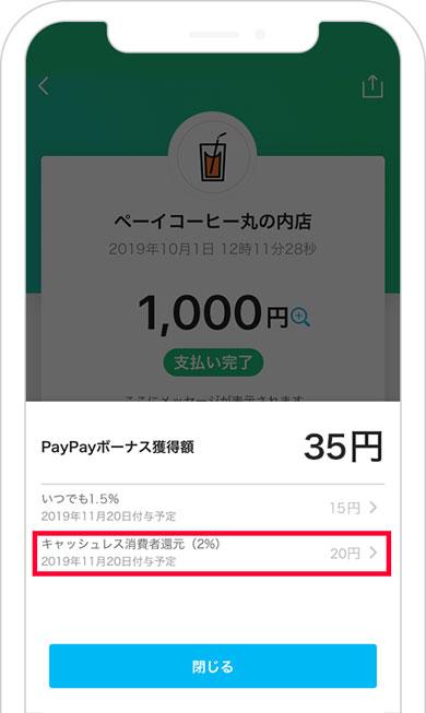 「PayPay」獲得ボーナス内訳