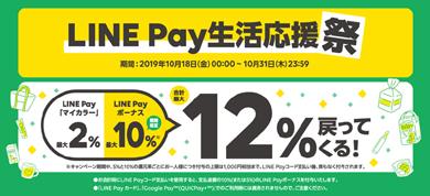 LINE Payの「誰でも最大12%戻ってくる!LINE Pay生活応援祭」