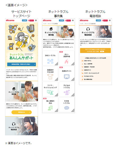 NTTドコモの「ネットトラブルあんしんサポート」の画面イメージ