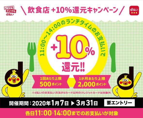 飲食店 d払い+10%還元キャンペーン
