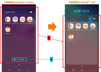 「Galaxy S10 SCV41」「Galaxy S10+ SCV42」でのアプリフォルダのデザイン変更