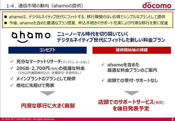 ドコモが「ahamo」の店頭サポート提供を表明 有償で - ITmedia Mobile