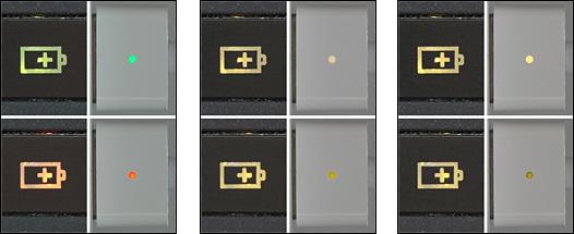 ノートパソコン2機種の充電インジケーターの例