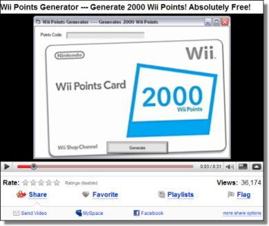 「Wiiポイントを無料でゲット」、宣伝動画でマルウェア配布