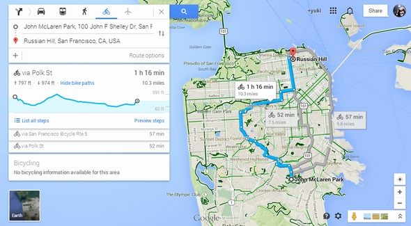Googleマップの自転車ルートに坂道の勾配表示 Itmedia News
