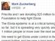 FacebookのザッカーバーグCEO、エボラ対策支援で2500万ドル寄付