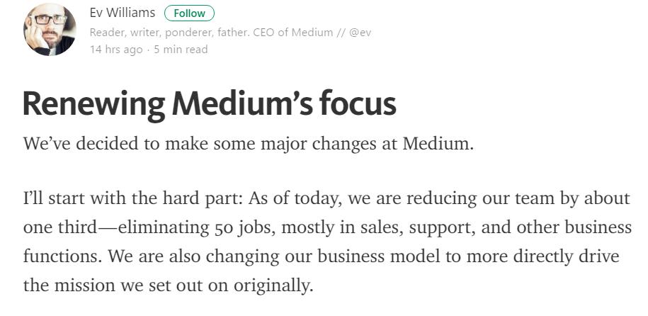 「広告ベースのWebメディアは破綻する」:好調なはずのMedium、従業員の3分の1を突如リストラへ