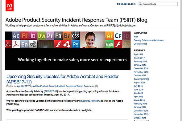 Adobe Product Security Incident Response Team (PSIRT) Blog
