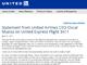 ユナイテッド航空、乗客引きずり降ろしについて正式謝罪
