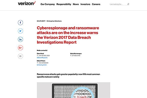 最近のサイバー攻撃の傾向を分析したVerizonのレポート