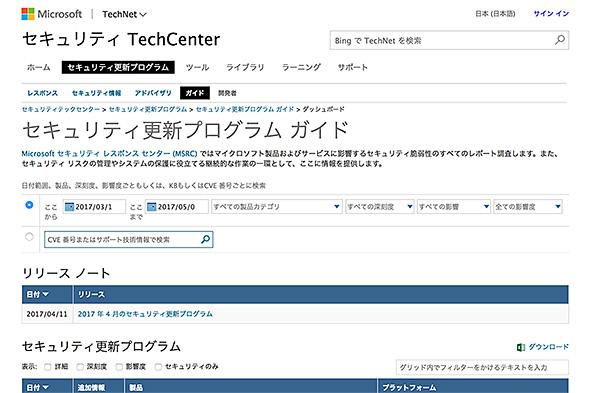 日本マイクロソフトのセキュリティ更新プログラムガイド
