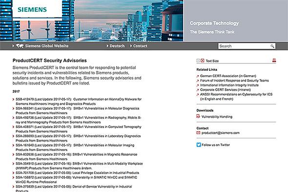 Siemensがセキュリティ情報を公開