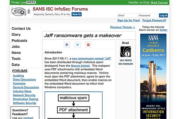 Jaffについて警告を発するSANS