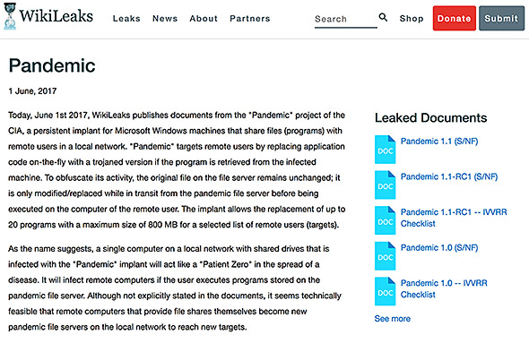 WikiLeaksがCIAの不正アクセスツールを公開
