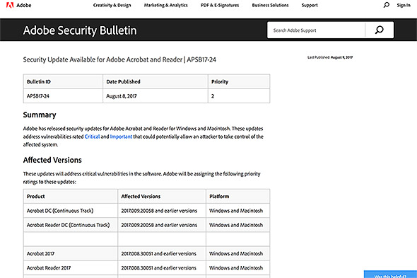 Adobe Security Bulletin