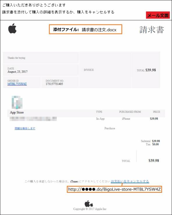 Appleをかたるフィッシングメール