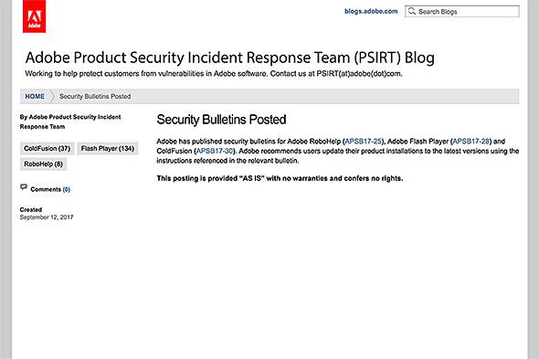 セキュリティアップデートの詳細を伝えるページ