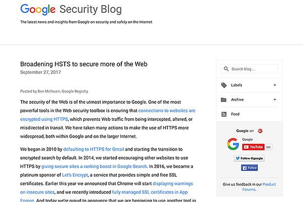 GoogleがHSTSの適用拡大を発表