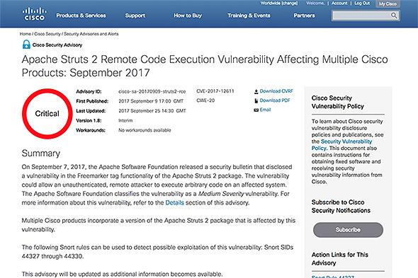 Ciscoが公開したセキュリティ情報