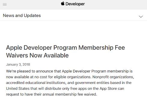 Apple、「Developer Program」で一部開発者は年額99ドルから無料