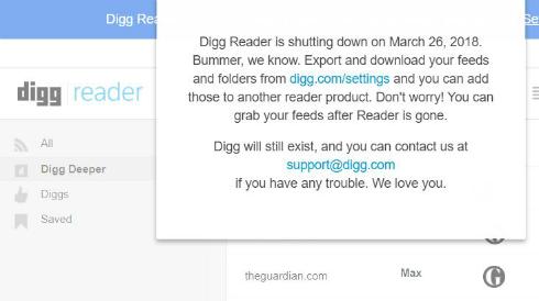 Digg Reader」、3月26日にサービ...
