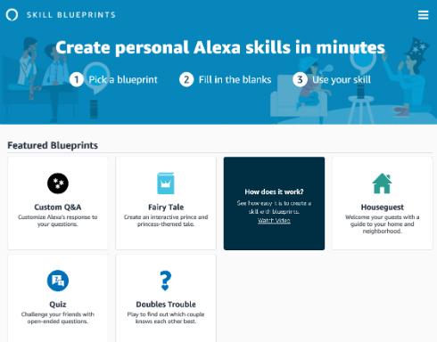 alexaの自分だけのスキルをテンプレートから作れる skill blueprints