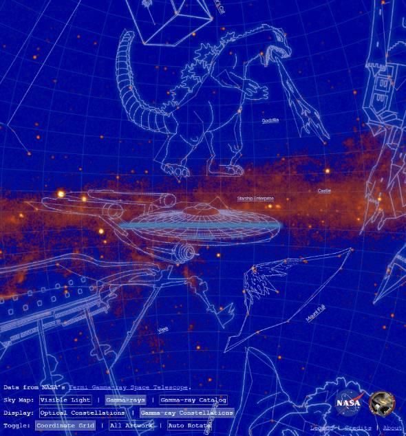 """ゴジラが""""星座""""に 「ガンマ線天体結ぶ22星座」NASAなどの研究チームが ..."""