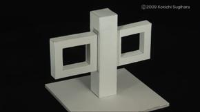 長方形の窓枠が2つ並んでいる