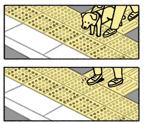 点字ブロックは盲導犬が導く手助けにもなる