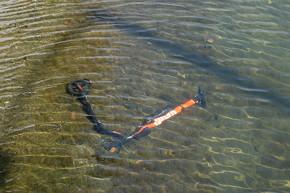 河口に水没していた電動スクーター