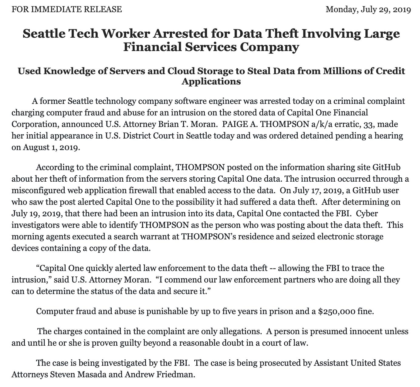 1億人超の個人情報流出、容疑者はAmazon元従業員 クラウドセキュリティに不安の声も